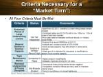 criteria necessary for a market turn