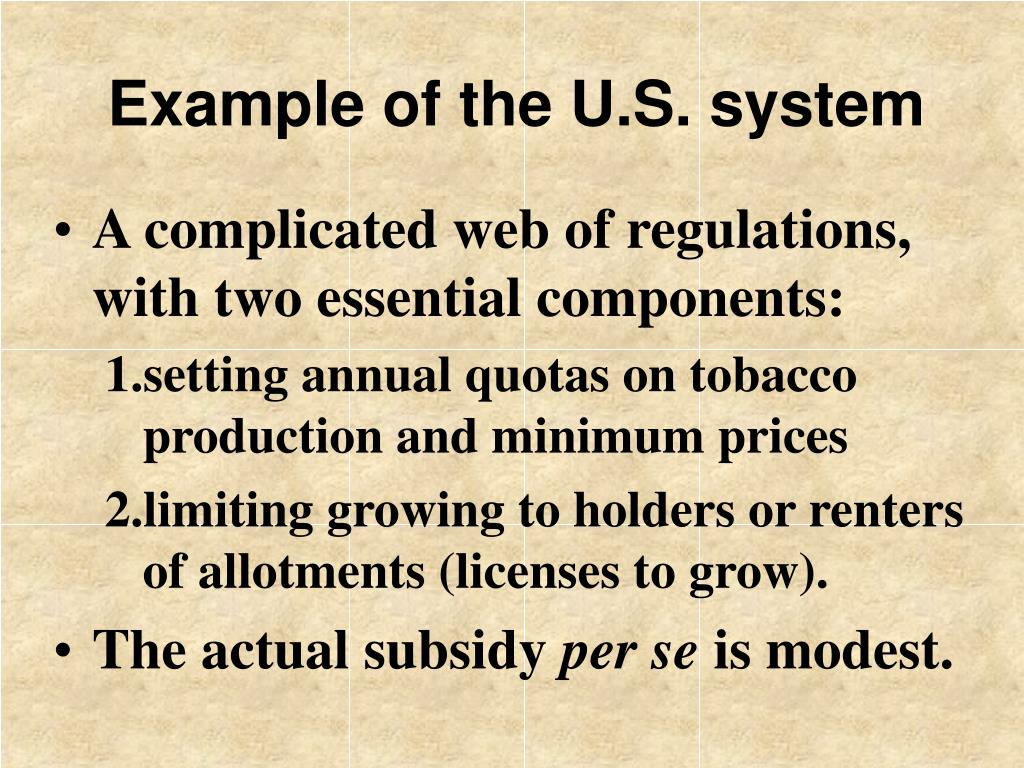 Example of the U.S. system