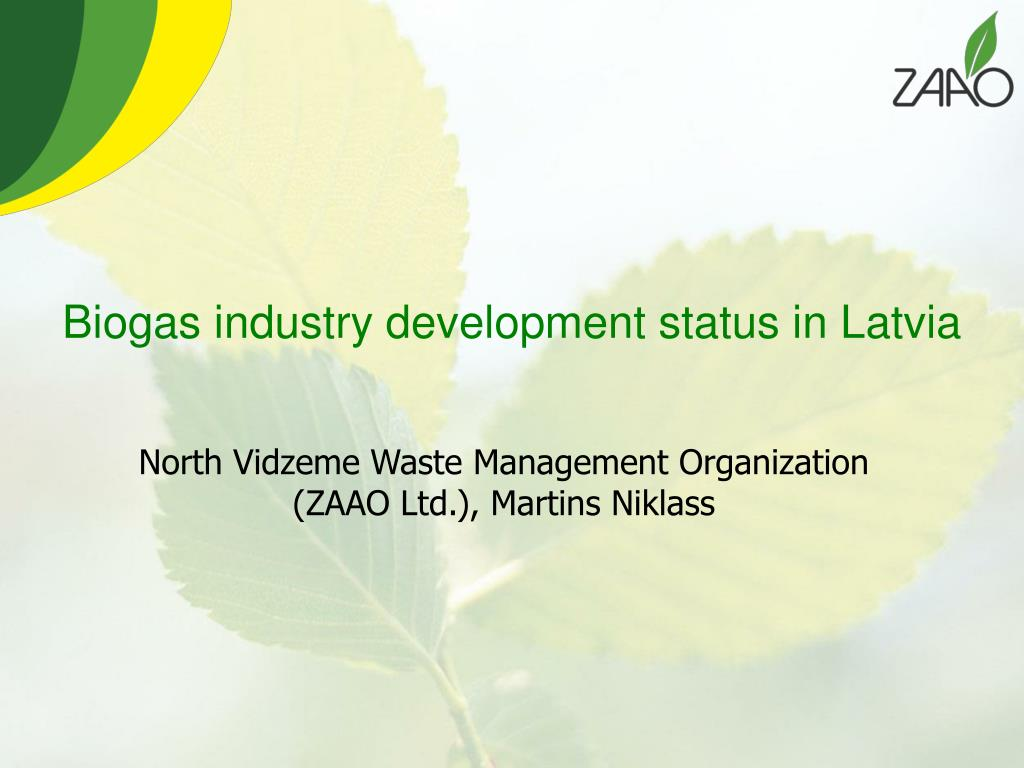 biogas industry development status in latvia l.