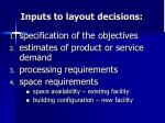 inputs to layout decisions