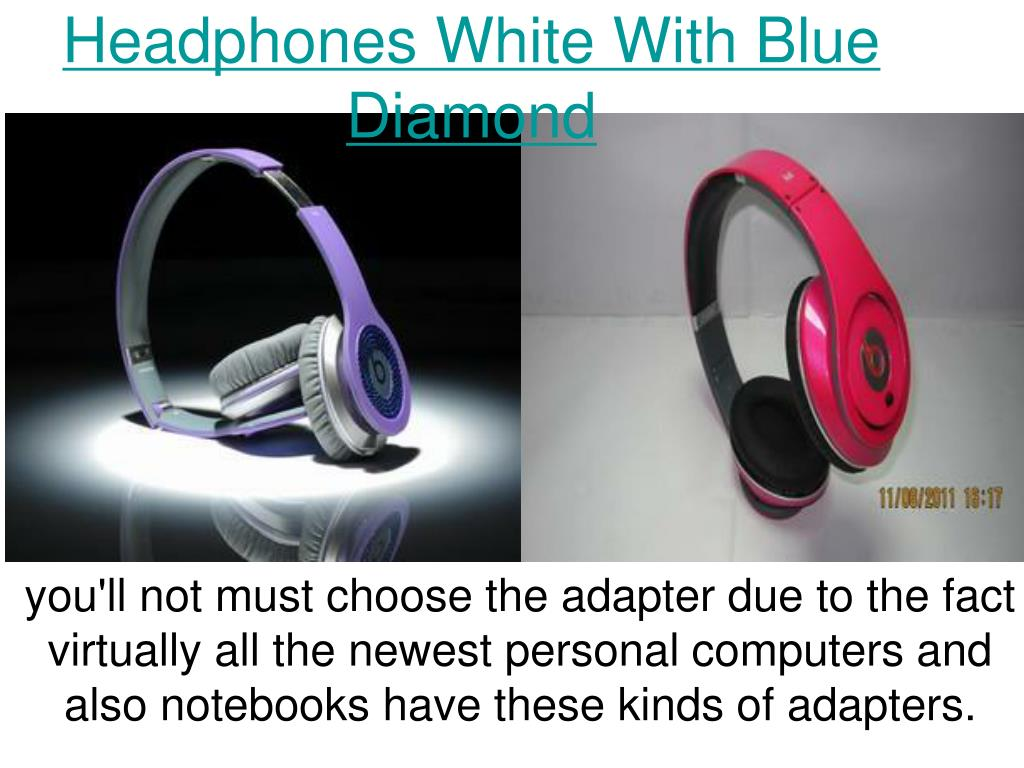 headphones white with blue diamond l.