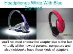 headphones white with blue diamond