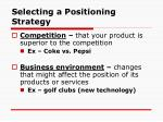 selecting a positioning strategy18
