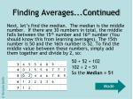 finding averages continued