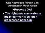one righteous person can accomplish much good