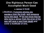 one righteous person can accomplish much good18
