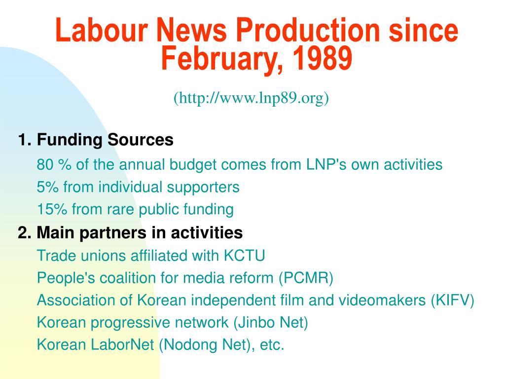 Labour News Production since February, 1989