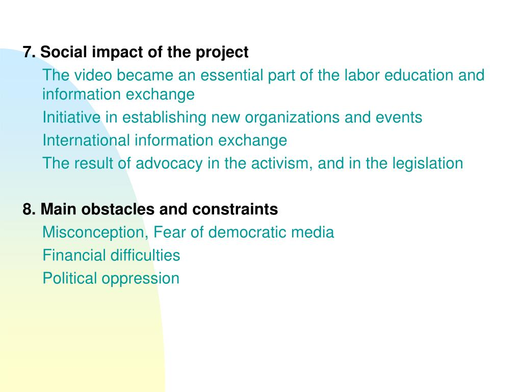 7. Social impact of the project