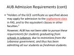 aub admission requirements cont
