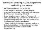 benefits of pursuing as a2 programme and taking the exams