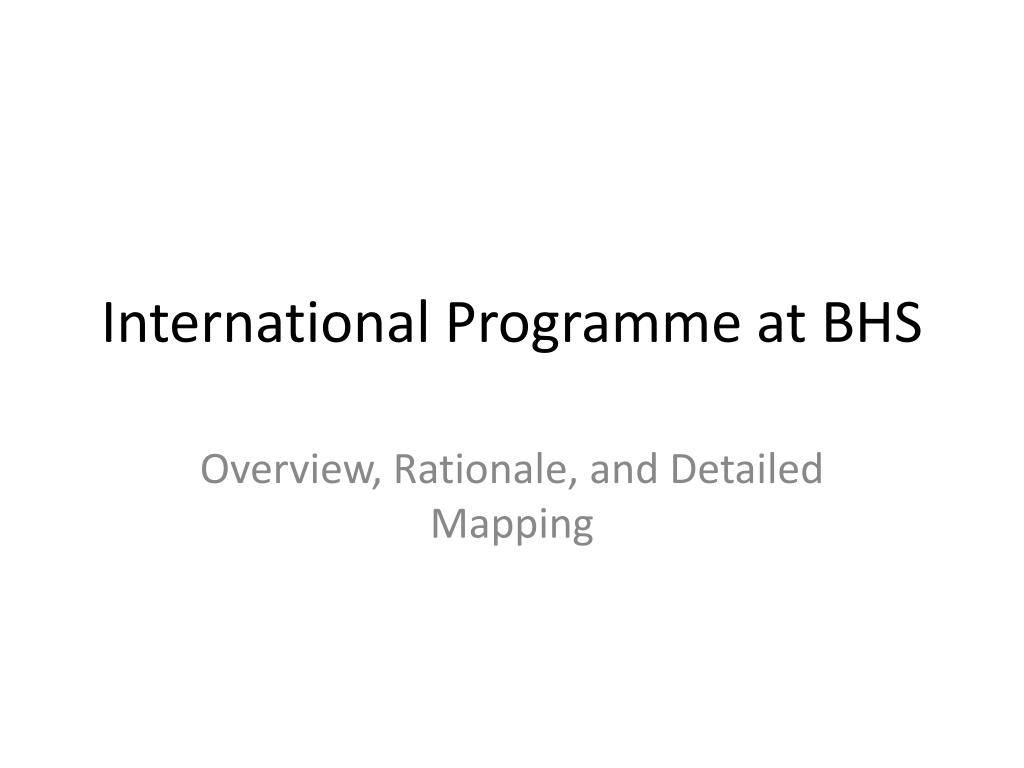 international programme at bhs l.