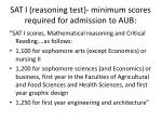 sat i reasoning test minimum scores required for admission to aub