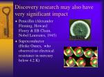 discovery research may also have very significant impact