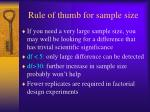 rule of thumb for sample size