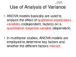use of analysis of variance