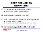 debt reduction reporting