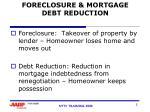 foreclosure mortgage debt reduction