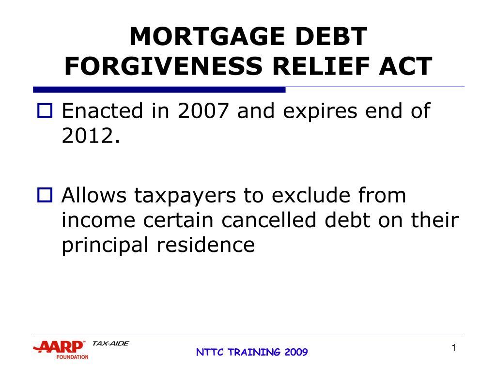 mortgage debt forgiveness relief act l.