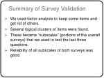 summary of survey validation