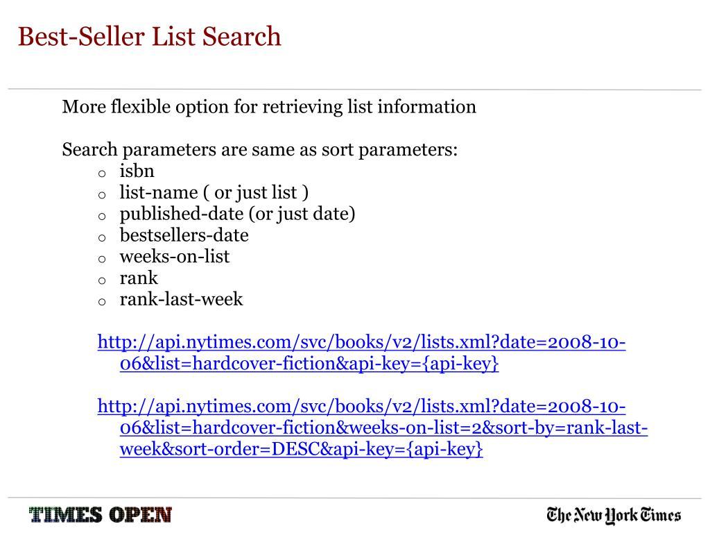 Best-Seller List Search