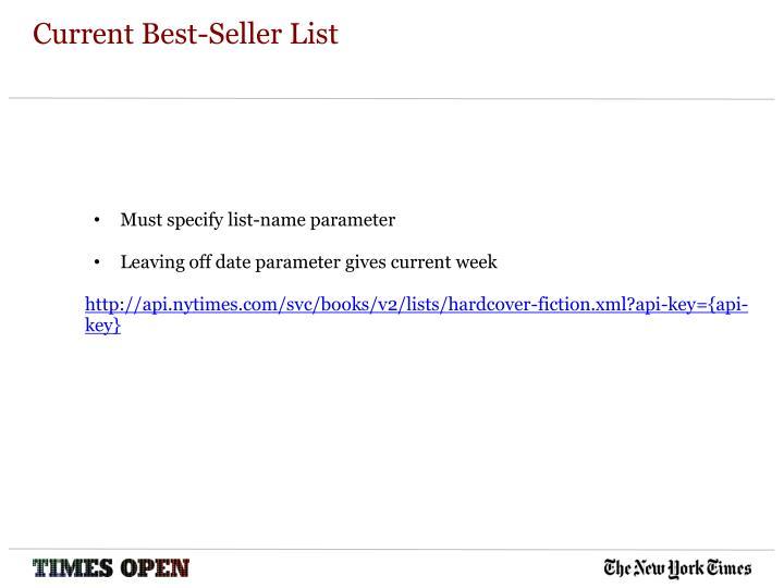 Current best seller list