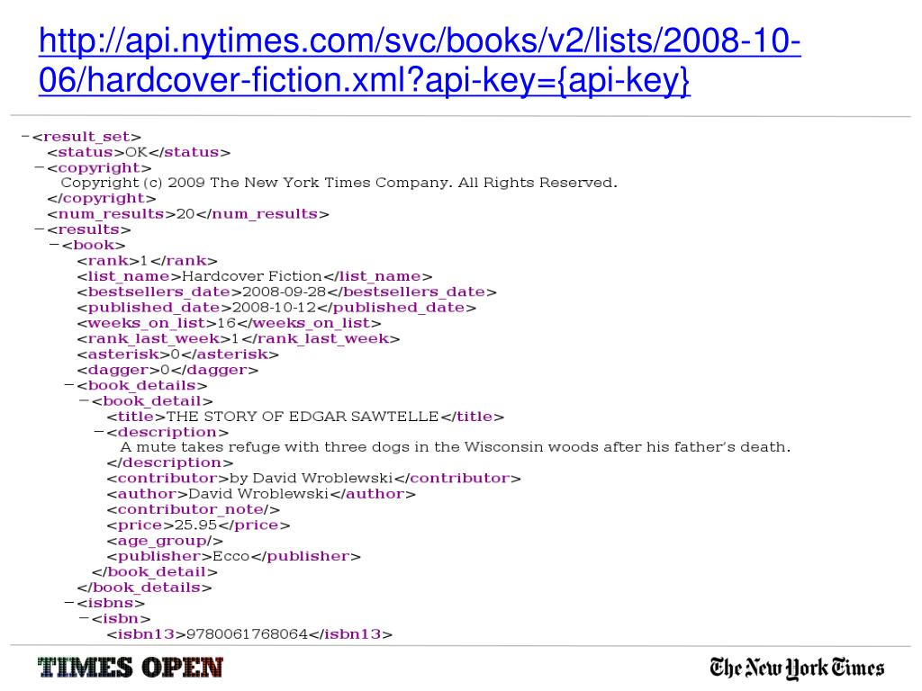 http://api.nytimes.com/svc/books/v2/lists/2008-10-06/hardcover-fiction.xml?api-key={api-key}