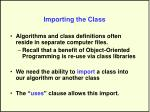 importing the class