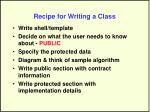 recipe for writing a class