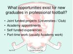 what opportunities exist for new graduates in professional football
