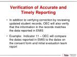 verification of accurate and timely reporting