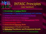 intasc principles see handout
