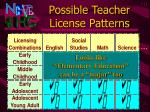 possible teacher license patterns