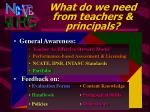 what do we need from teachers principals