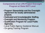 components of an lpa project oversight program at state dot level