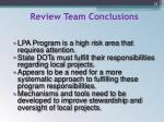 review team conclusions