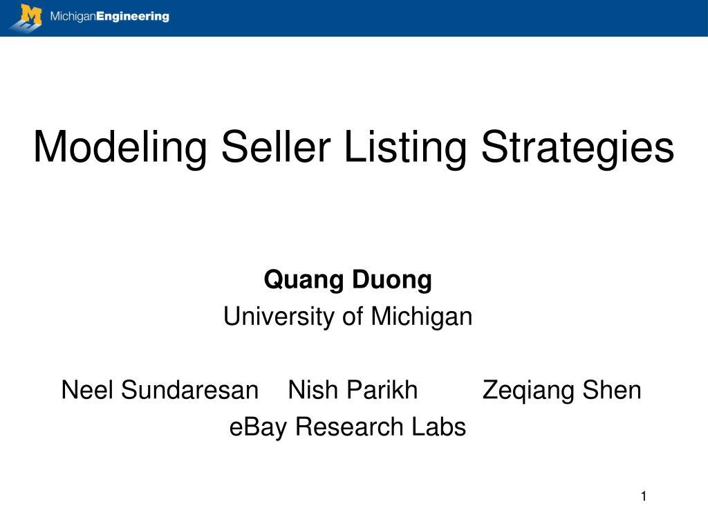 modeling seller listing strategies l.