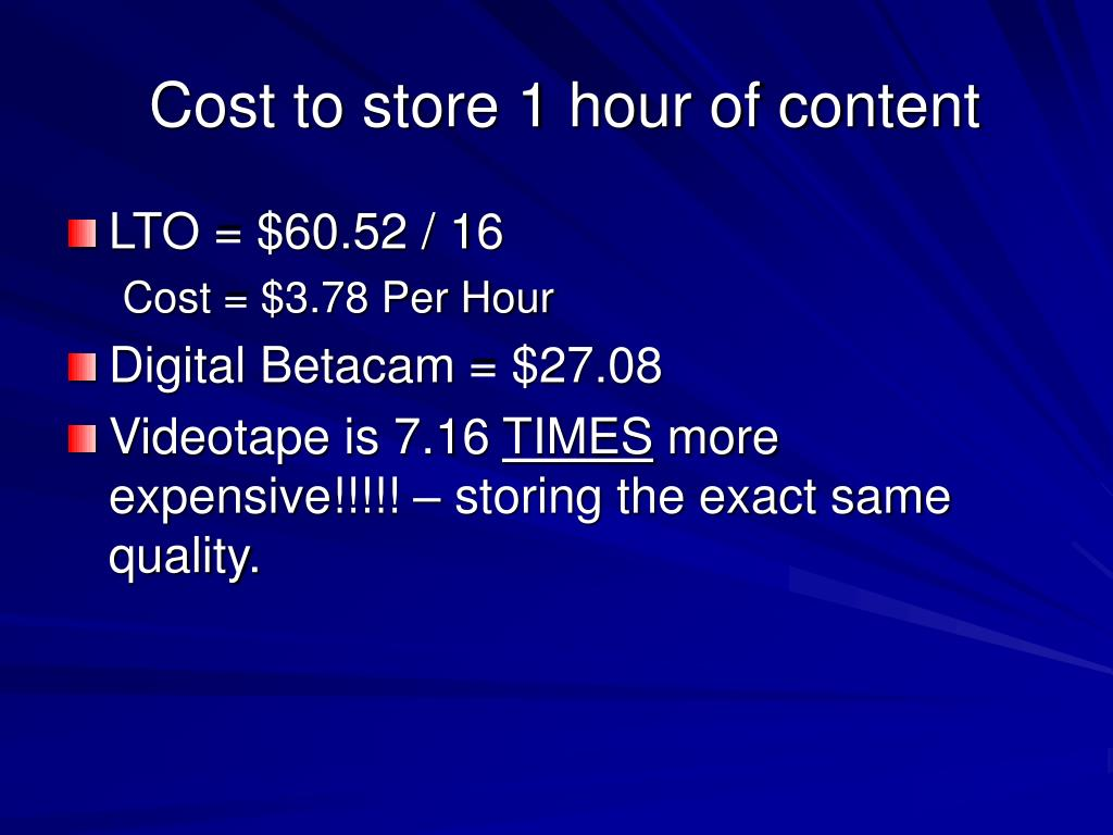 Cost to store 1 hour of content