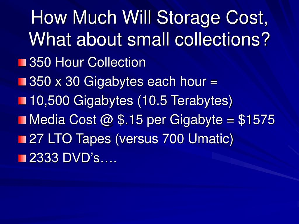 How Much Will Storage Cost, What about small collections?
