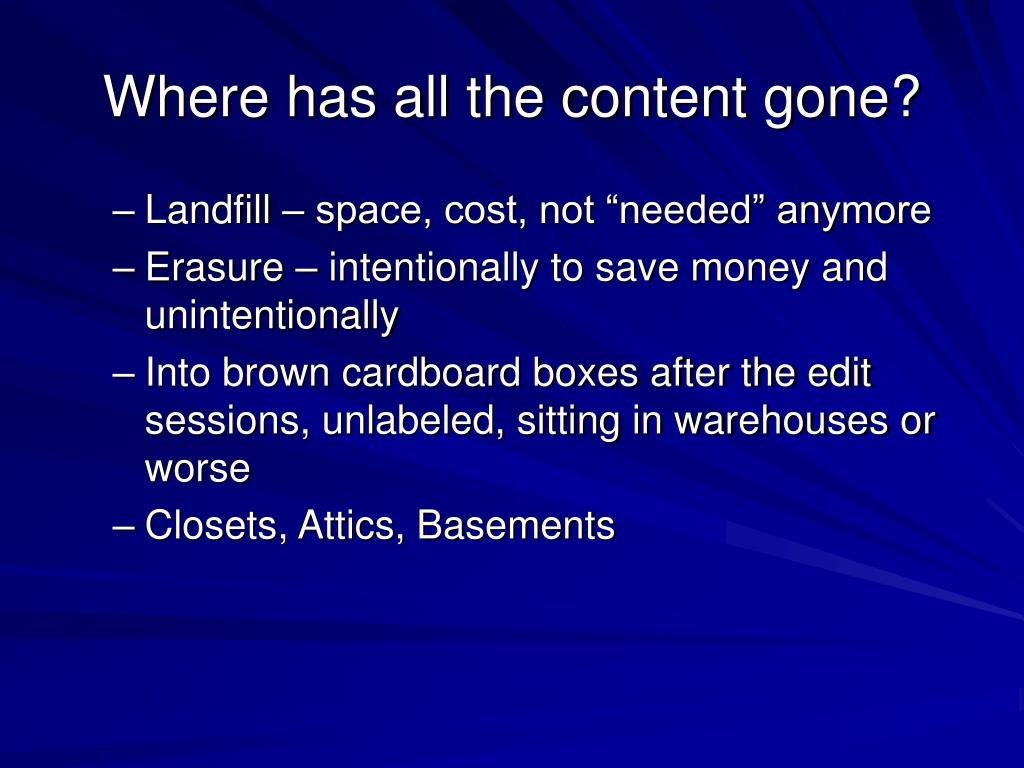 Where has all the content gone?