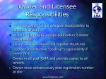 owner and licensee responsibilities