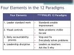 four elements in the 12 paradigms