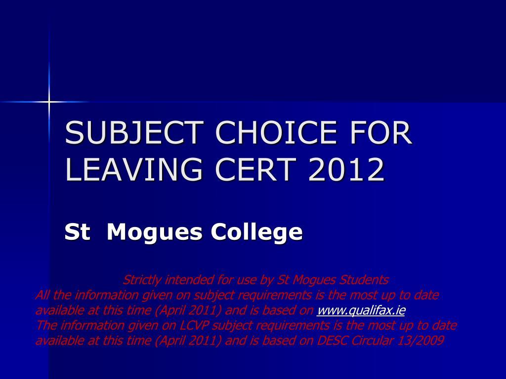 subject choice for leaving cert 2012 l.
