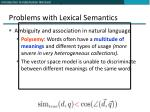 problems with lexical semantics