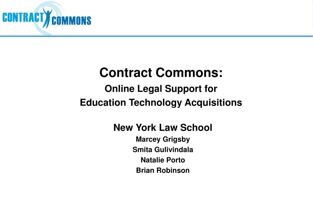 contract commons online legal support for education technology acquisitions l.