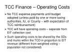 tcc finance operating costs