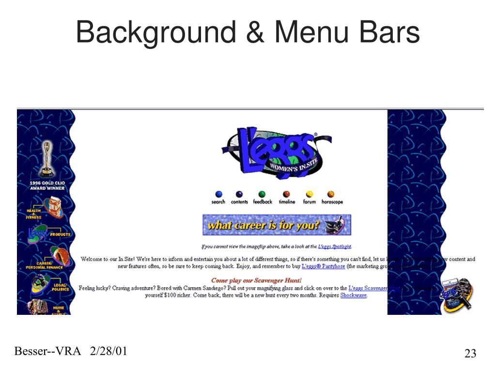 Background & Menu Bars