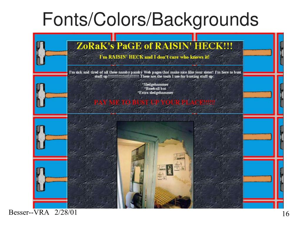 Fonts/Colors/Backgrounds