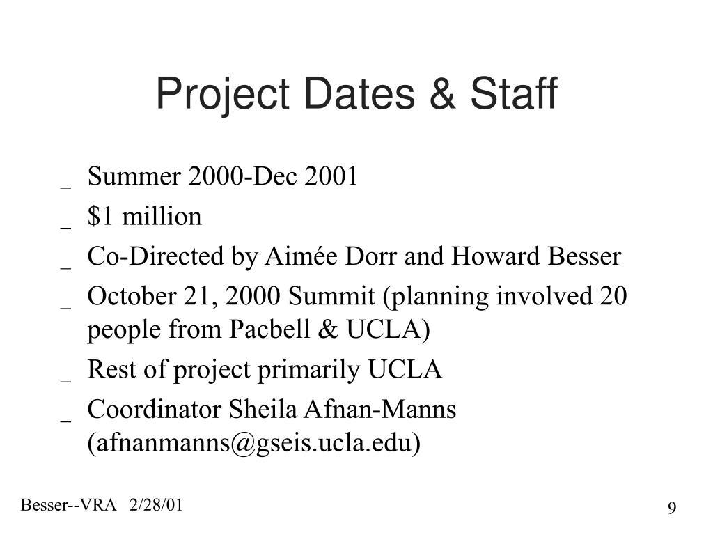 Project Dates & Staff