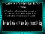 authority of the incident safety officer