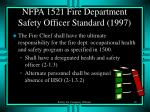 nfpa 1521 fire department safety officer standard 1997